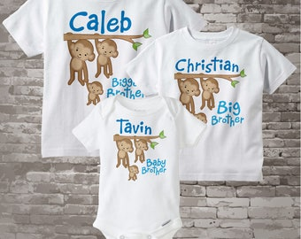 Sibling Monkey Shirt Set, Set of Three, Biggest Brother Shirt, Big Brother, and Baby Brother,  Personalized Shirt or Onesie 02142014d