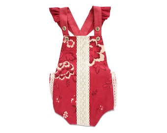 Baby Girl Valentine's Outfit Red Linen Ruffle Romper Valentines Kids Bubble Romper Boho Toddler Girl Valentines Day Outfit Valentines Romper