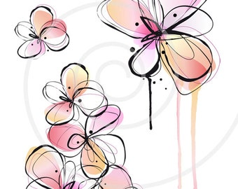 Abstract spring flowers, digital clip art, floral clipart, ink drawing, watercolor painting, illustration, vector, instant download