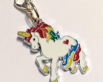 Magical Rainbow UNICORN Clip-On Zipper Zip Charm - purse bracelet handbag silver enamel charm