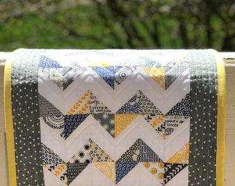 Quilted Table Runner - Modern Table Runner - Chevron Table Runner - Spring Table Runner - Quilted Table Topper - Quilted Wall Hanging
