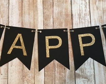 HAPPY BIRTHDAY Customized With Name Gold Glitter OR Silver Glitter birthday bunting banner, twine, black and gold, adult birthday banner