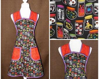 Halloween gift, Full apron woman, Womens Aprons, Cooking apron, Retro apron, Woman apron, Apron with pockets, Wrap tie apron