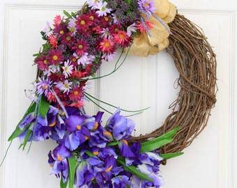 Eternal Summer Grapevine Floral Wreath // Summer Wreath // Spring Wreath // Summer Wreaths for Door