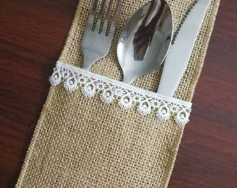 Set of 10-Wedding Table Set,Burlap Silverware Holder,Table Setting,Wedding Rustic Menu,Burlap table decoration,Rustic table decor, - (PY)11