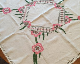 Vintage Tablecloth, Large Embroidered Floral Design, Pink And Green