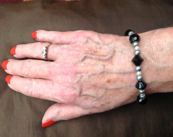 Handmade vintage style black and silver beaded bracelet, toggle clasp
