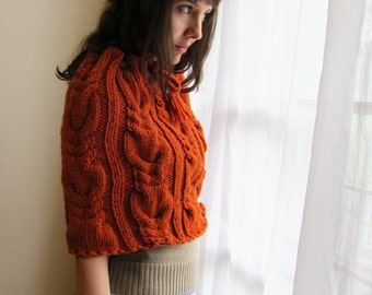Hand knit  Capelet in cadmium Red
