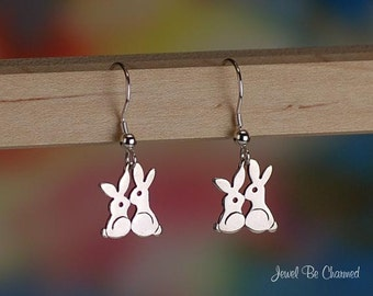 Kissing Bunny Earrings Sterling Silver Fishhook Rabbit Love .925