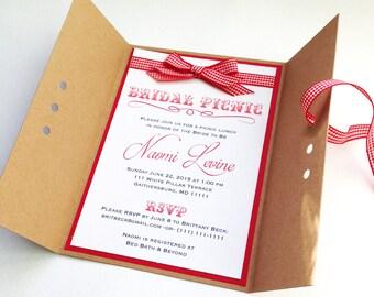 Rustic Picnic Bridal Shower Invitations