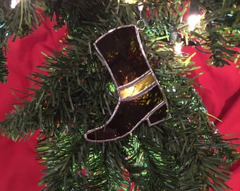 Country Christmas Decoration - Cowboy Boot Stained Glass Festive Tree Ornament Suncatcher