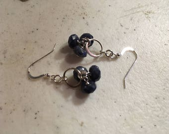 Sapphire Earrings - Sterling Silver Jewelry - Navy Blue Gemstone Jewellery - Wire Wrapped - Fashion