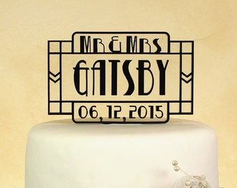 Wedding cake topper Mr. and Mrs. personalized and dated with floating letters by Distinctly Inspired (style GD-1)