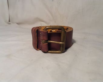 Vintage Brown Leather Belt ,,NYBILO''.Made in Spain.NEW.