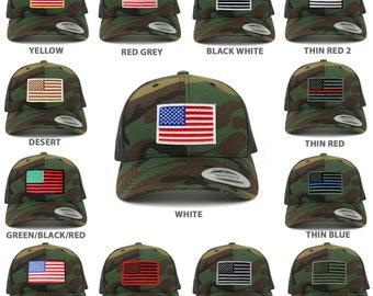 American Flag Patch Snapback Trucker Mesh Cap - Camo (6606-CAM)