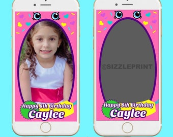 SHOPKINS GEOFILTER Plus Family & Friends Message   Custom Personalized Snapchat Geofilter   Girl Shopkins Birthday Party