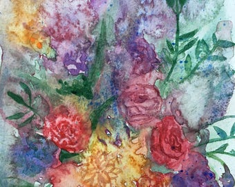 Abstract Flowers Original Watercolor Painting 6 x 9, Small Painting, Loose Watercolor, Bouquet, Flowers, Floral, Colorful, Roses, Wall Art