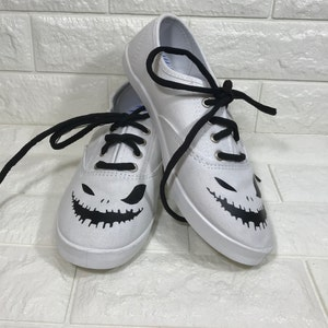 Jack-o-lantern shoes. FREE PERSONALIZATION. Skeleton shoes. Skull painted  shoes
