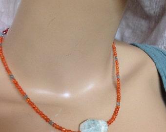 Aquamarine carnelian and labradorite necklace