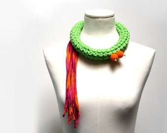 Crochet Statement Necklace - Lime Green Upcycled Jersey Yarn and Orange Ribbons - Jersey Scarf Cowl - Crochet Jewelry - Textile Necklace