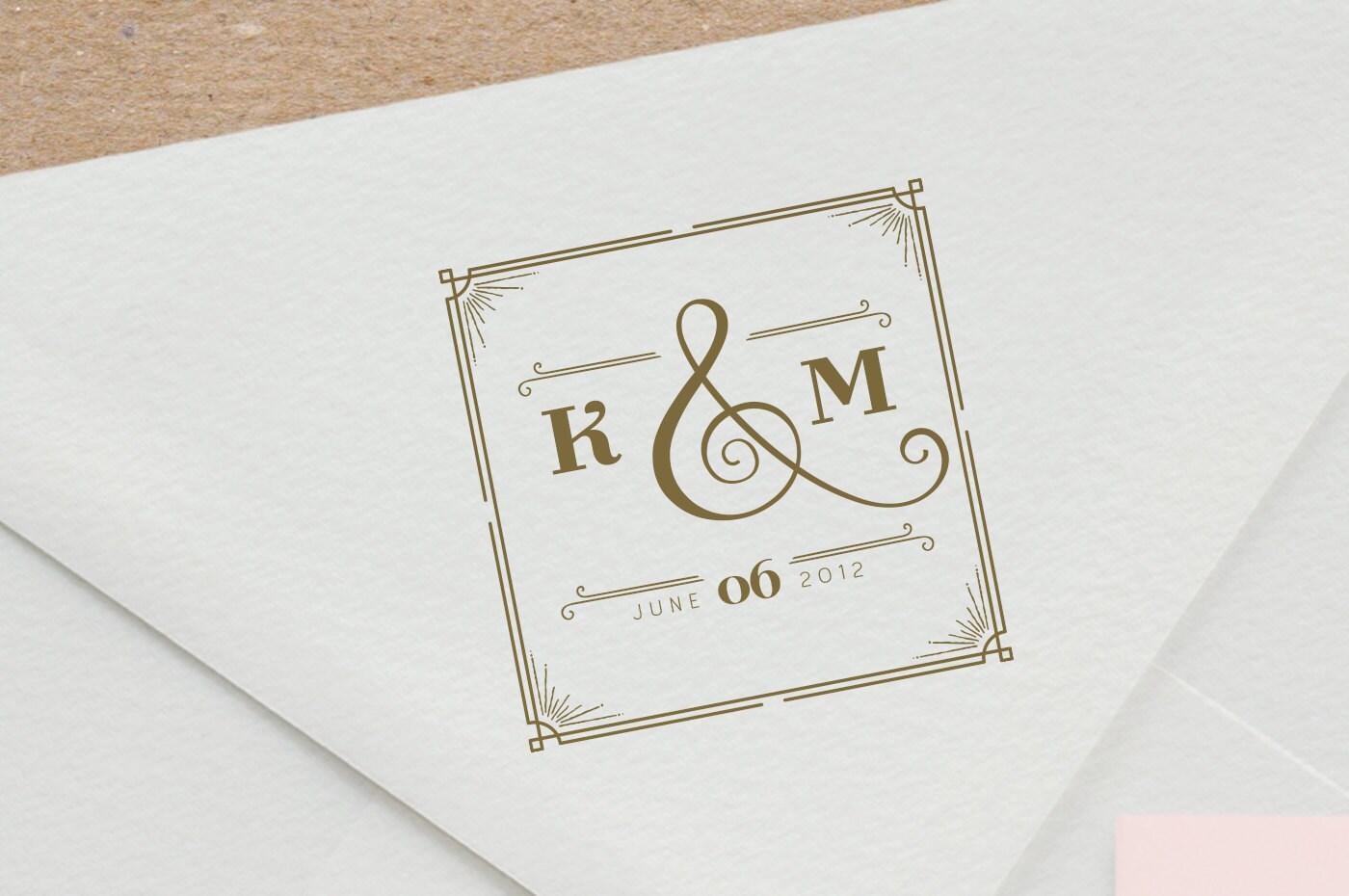 Great Gatsby Wedding Monogram Stamp custom rubber stamp