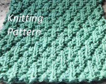 Knit Dish Cloth Knitting Pattern, Knit Wash Cloth Knitting Pattern INSTANT DOWNLOAD PDF