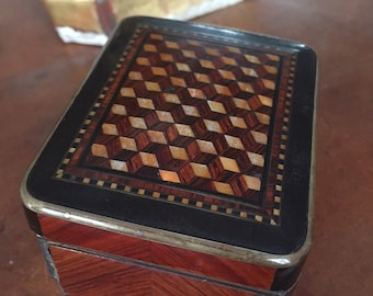 Vintage inlaid music box 19th century
