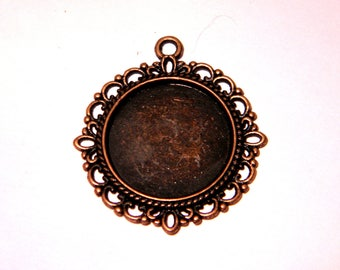 2 pendants support cabochon 20 mm round copper red - 35 x 32 mm - F146