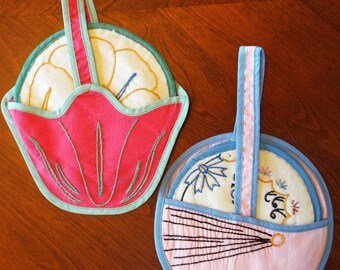 Pair of Vintage 1930's-1940's Baby Carriage Flower Basket Pot Holders For Kitchen