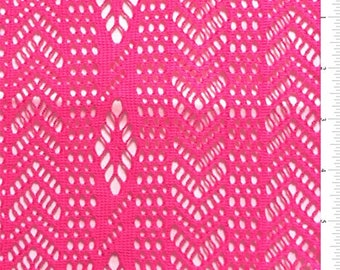 Neon Pink Chevron/Stripe Stretch Lace, Fabric By The Yard