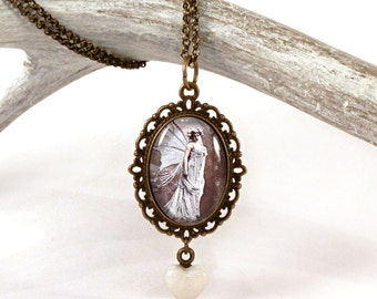 Victorian fairy pendant - blue fairy necklace - faerie jewelry - fantasy jewelry - glass pendant - filigree - romantic - fairy tale