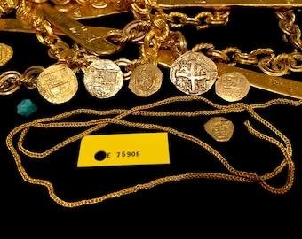 """Gold Chain 1715 Plate Fleet Shipwreck Artifact Queens Jewels Replic Money Chain 30""""  COA"""