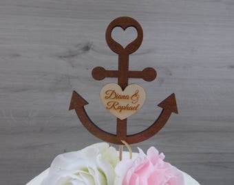 cake topper anquor with hearts - wedding  cake topper  marriage  wedding decoration  wedding accessoires