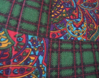 vintage 1960s Glentex scarf paisley and plaid acrylic made in Japan 31 x 31 inches