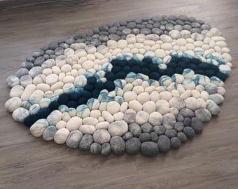Felt stone carpet wool super soft with soft core