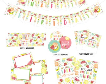 Two-tti Frutti Party Printables, Two-tti Frutti Food Labels, Party Signs, Cupcake Toppers, Birthday Banner, Favors, Wrappers