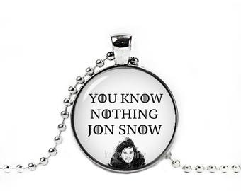 Jon Snow Necklace You Know Nothing Jon Snow Pendant Game Of Thrones Necklace Game Of Thrones Jewelry
