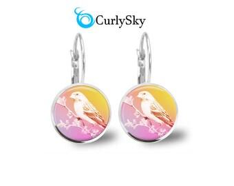 Yellow and Pink Earrings Pina Kolada Earrings Pink and Yellow Bird Earrings Pink Colada Earrings Yellow and Pink Earring Dangles Jewelry