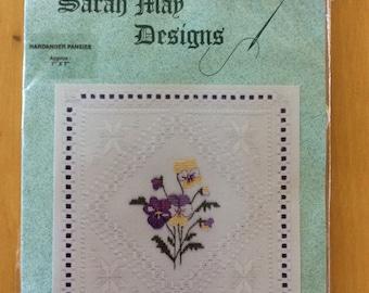 Hardanger Embroidery Kit Pansies, Sarah May Designs