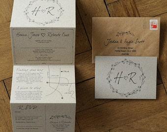 Woodland Story Rustic Concertina Wedding Invitation on Kraft Card - wreath illustration & optional custom map. Natural / Barn / Farm invites