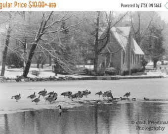 SALE 20% Off Winter Lake with Geese, Fine Art Photograph, Lake Afton and the Old Library, Black and White, Snow, Bucks County, Pennsylvania,