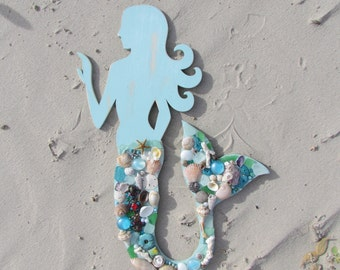 Large Wood Mermaid with Seashells, Sea Glass, Beads and Jewels