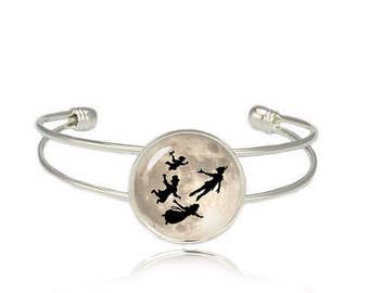 Peter Pan Cuff Bangle Flying over Moon Bracelet Peter Pan Jewelry Fangirl Fanboy