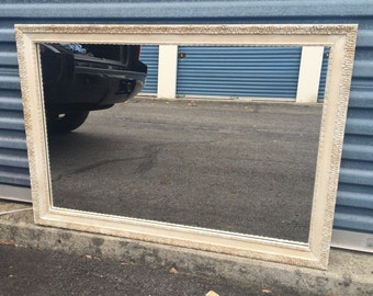 Vintage Large Antiqued White Mirror