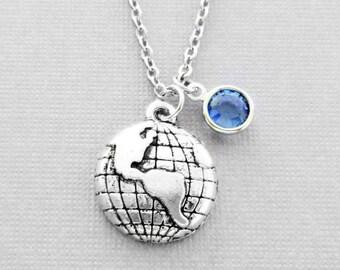 Globe Necklace Earth, World, Planet, Celestial, Universe, Travel, Friend Birthday Gift, Silver Jewelry, Swarovski Channel Crystal Birthstone