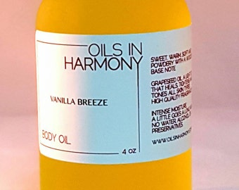 Body Oil   Hair Oil - Moisturizer - VANILLA BREEZE (Intoxicating, Warm and Soft )  -  Frosted 4 oz. Glass Bottle