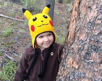 Pokemon Pikachu Crochet Hat - Newborn - Adult