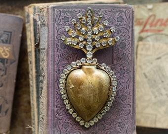 Sacred Heart, Heart Milagro, Gold Heart with distressed crystals