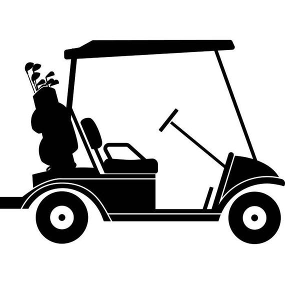 golf cart 3 golfer golfing clubs sports course cart car ball rh etsy com golf cart clipart free golf cart clipart