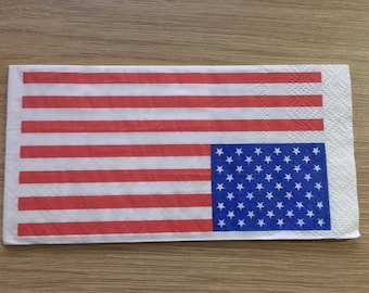 "set of 3 paper pattern ""American flag"" towels 33 x 33"